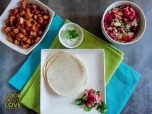 Overhead shot of prepared ingredients before making tacos