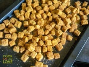 Tofu on baking sheet ready for the oven