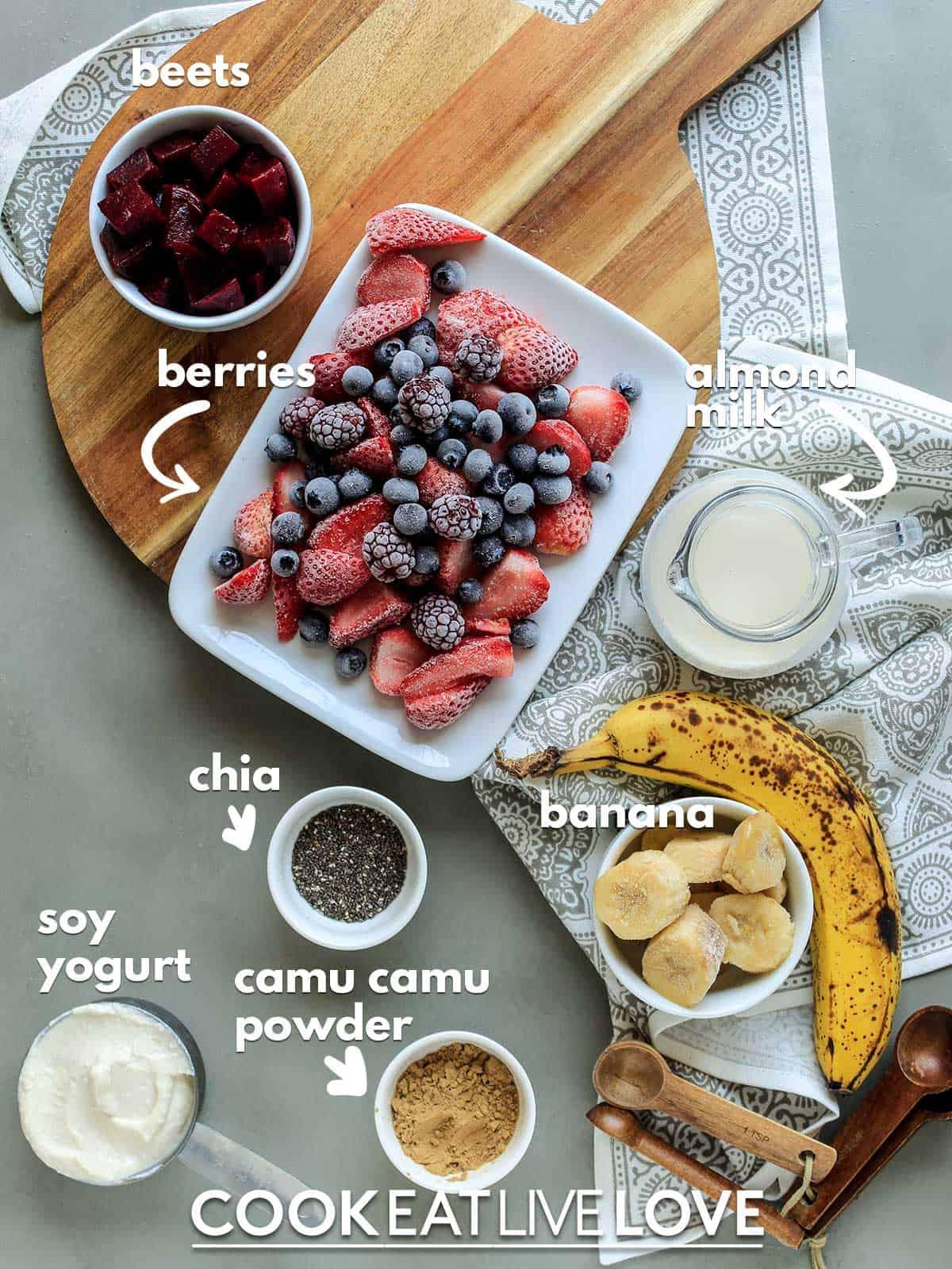 Ingredients to make camu camu smoothie on cutting board