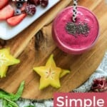 Pin for pinterest graphic for camu camu smoothie with image and text