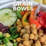 Pin for pinterest graphic with closeup of grain bowl
