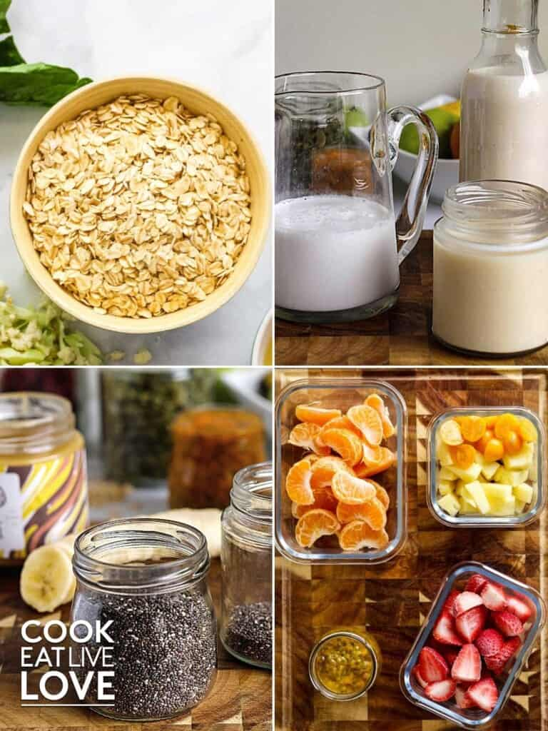 Collage of ingredients to use to make overnight oat jars
