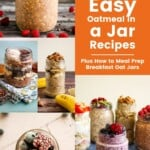 Pin for pinterest graphic with collage of oat jars images and text