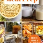 Pin for pinterest graphic with image of oat jar ingredients and text