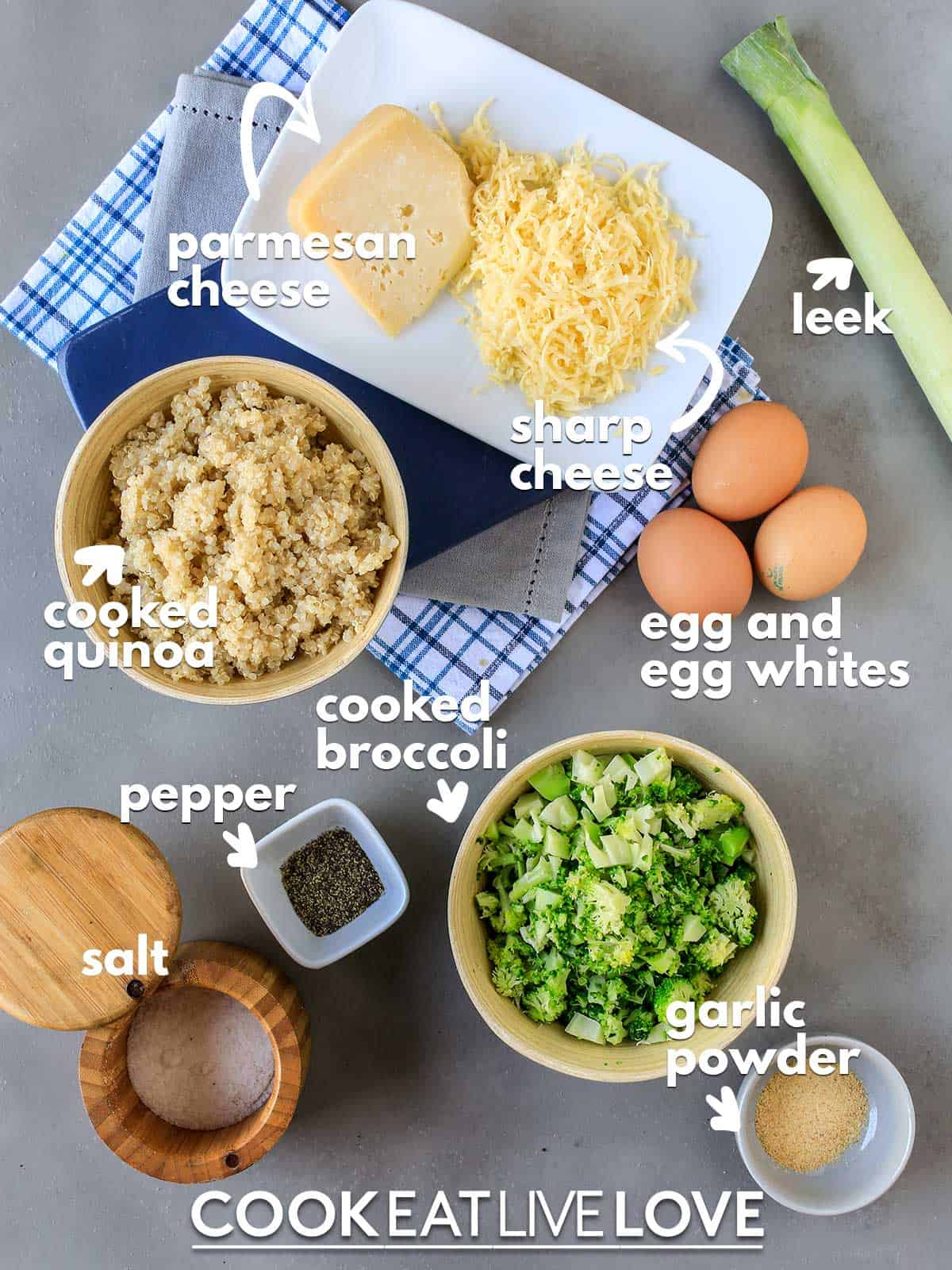 Ingredients to make broccoli quinoa bites on a table