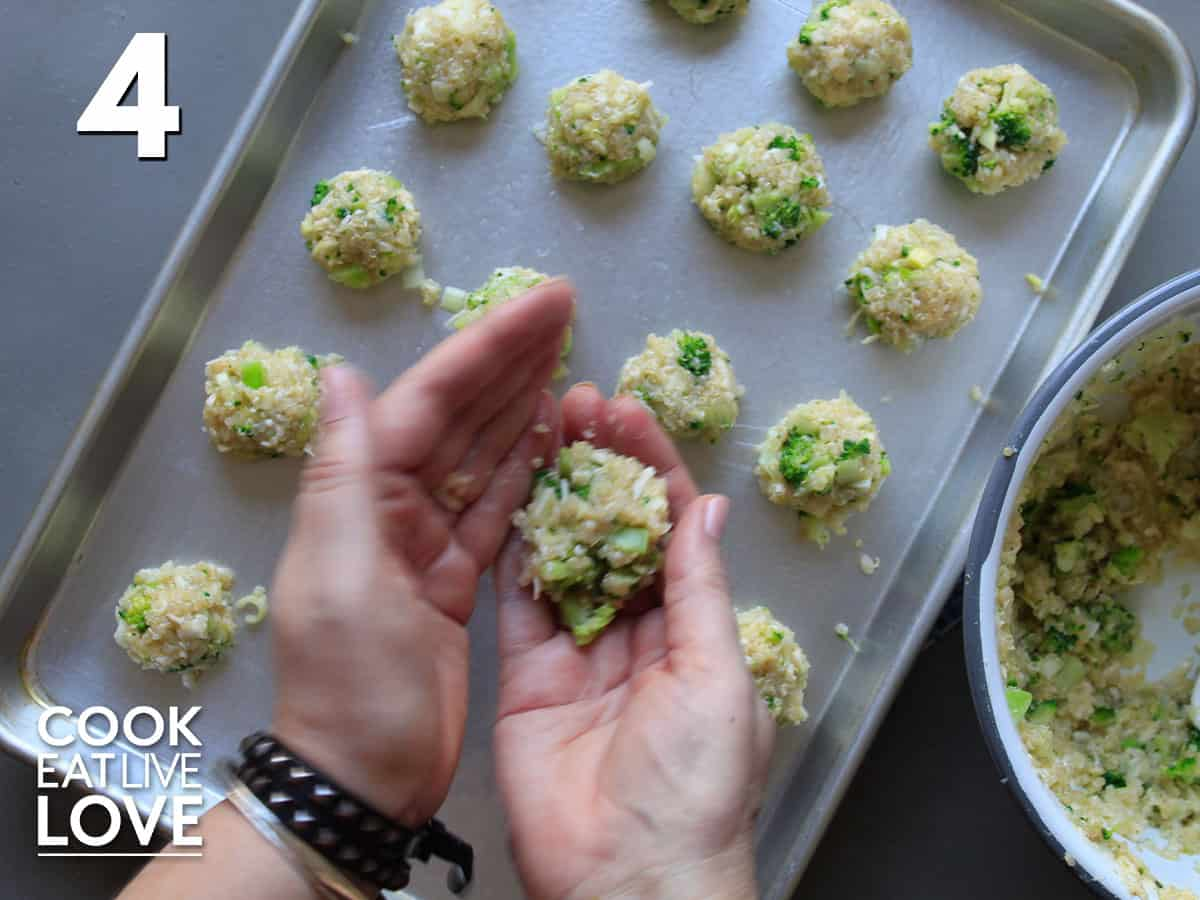 Forming the broccoli quinoa mixture into balls