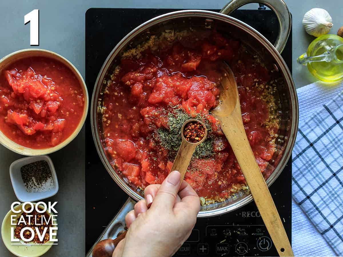 Ingredients in a pot to make hearty marinara sauce