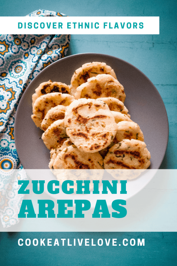 Arepas with zucchini pin for pinterest