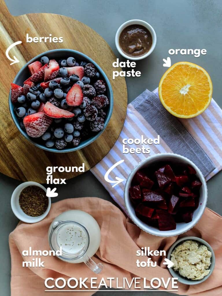 Ingredients for smoothies on the table with text labels