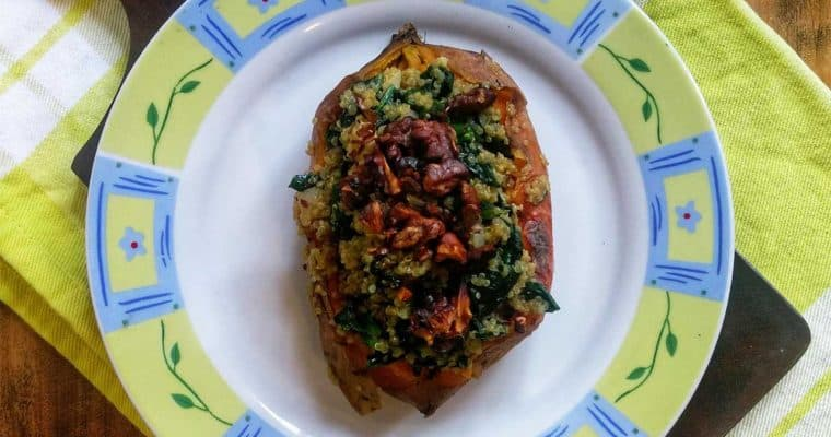 Eating plant-based protein • Quinoa and spinach stuffed sweet potato