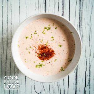bowl of creamy chipotle yogurt sauce