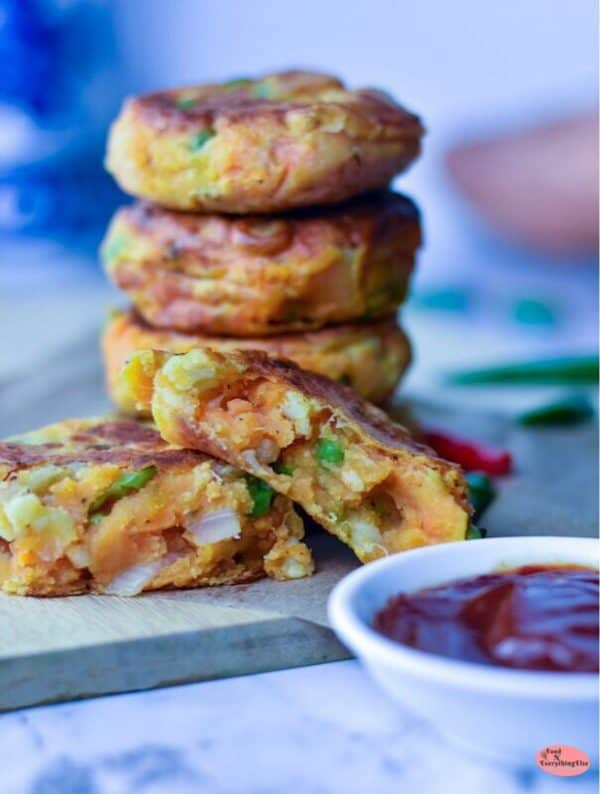 Fritters stacked high on plate