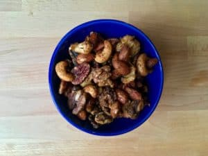 Bowl of spicy and herbed nuts