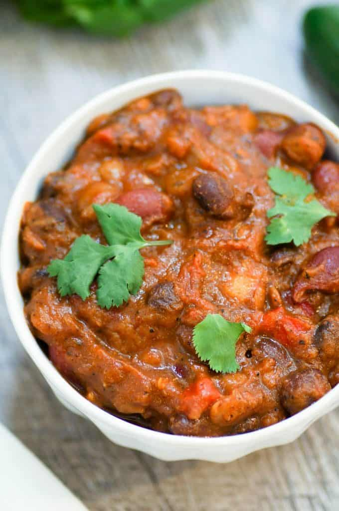 Delicious bowl of chili topped with cilantro