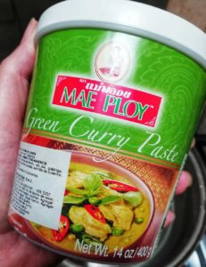 Photo of the brand of green curry paste I purchased.