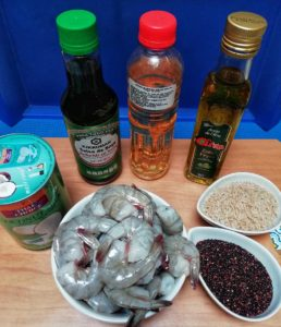 Other ingredients are pictured for the dish. Shrimp, Coconut Milk, Quinoa, Brown Rice, Rice Vinegar and Soy Sauce