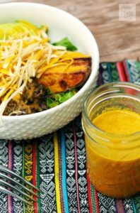 Beautiful salad with lots of color paired with Turmeric Paprika Vinaigrette