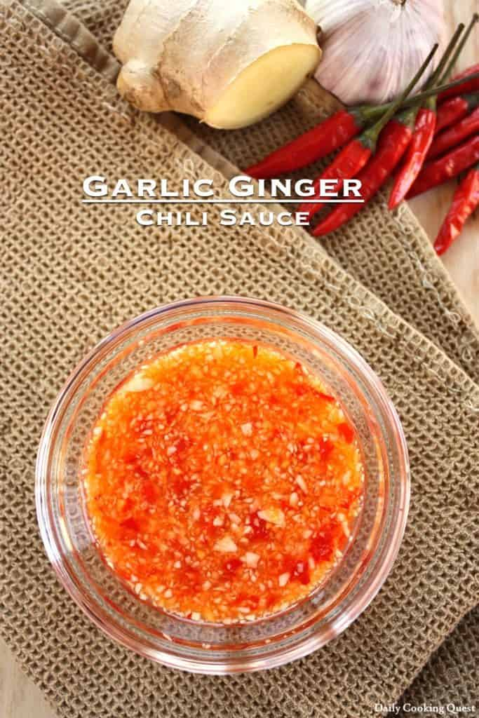 Glass bowl with ginger chili sauce