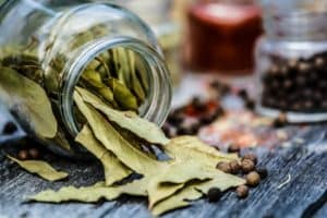 Jar of bay leaves spilling over with leaves on table