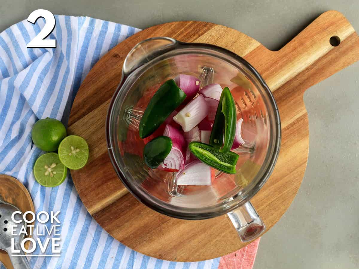 Ingredients in blender for salsa