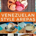 Pin for pinterest graphic with multiple images of arepas