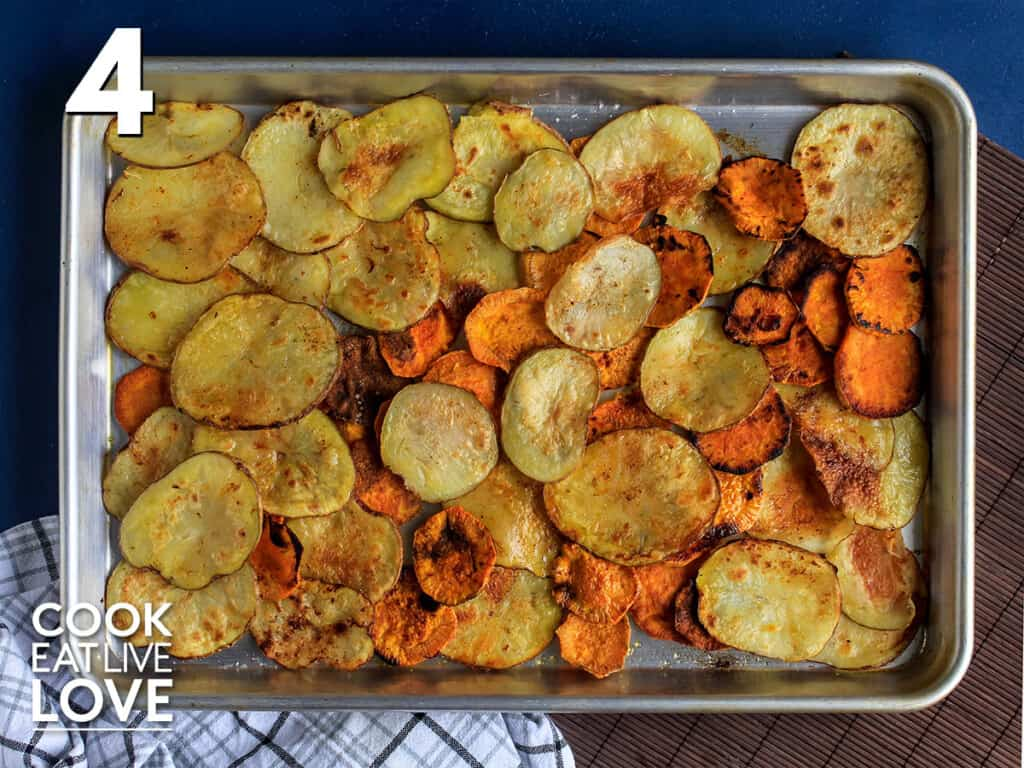 Cooked potatoes on a baking sheet
