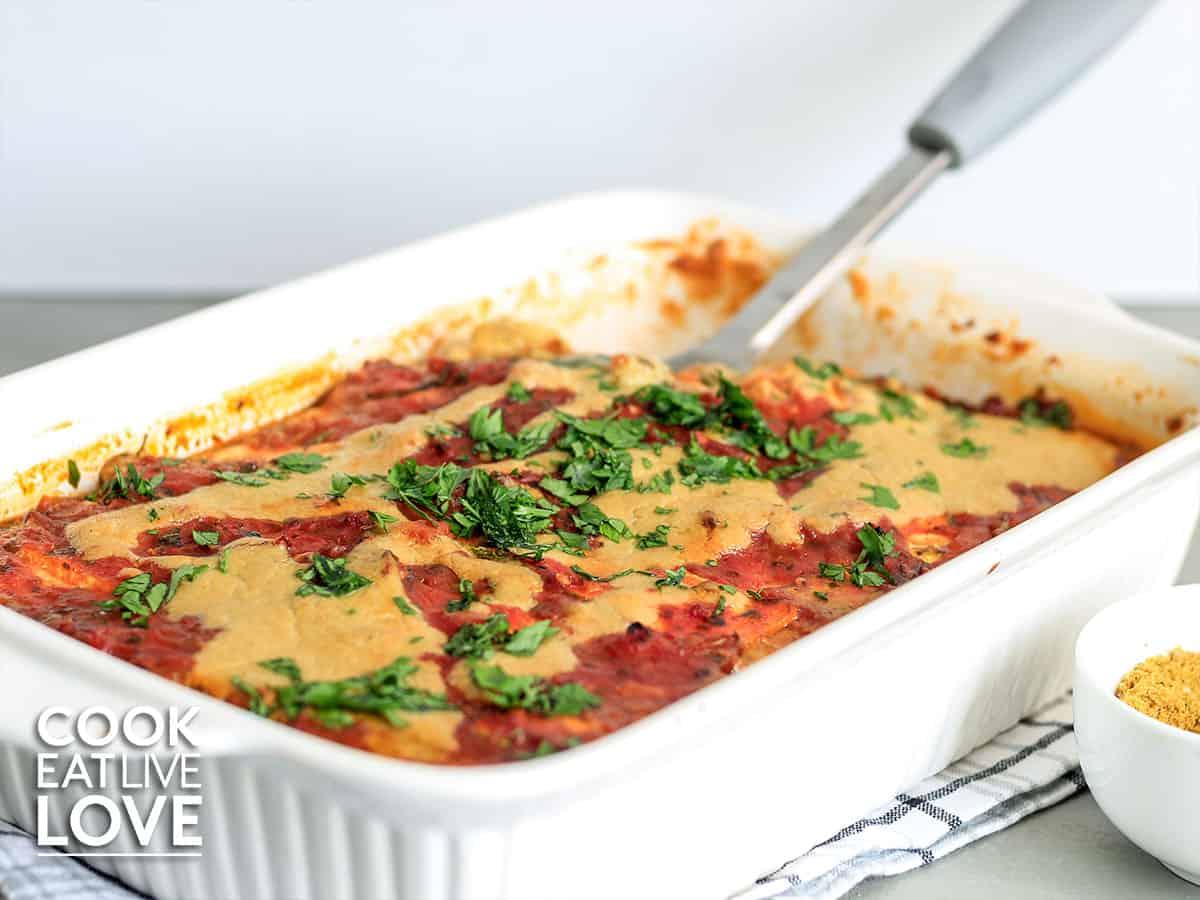 Casserole dish with zucchini lasagna