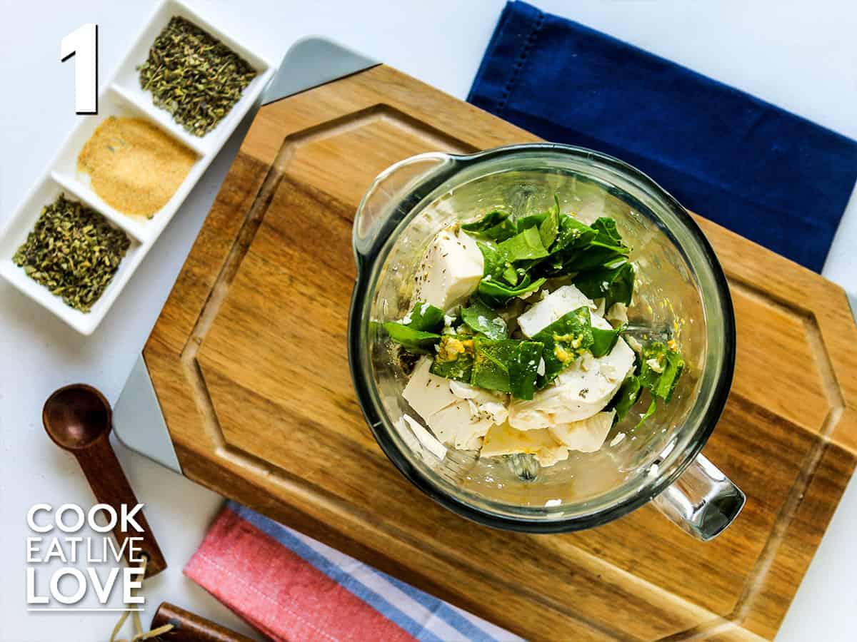 Ingredients to make tofu ricotta in blender