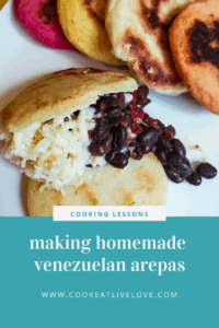 Pin for pinterest with picture of The Domino arepa.