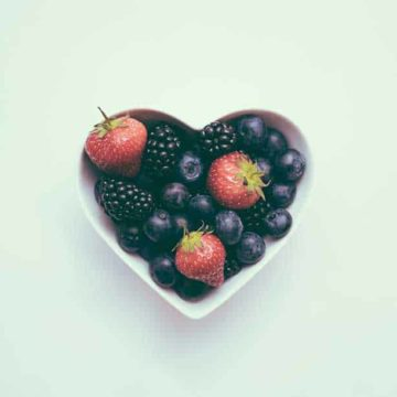 Berries in a heart shaped dish