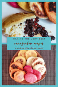 Pin for pinterest with photos of The Domino and colored arepas