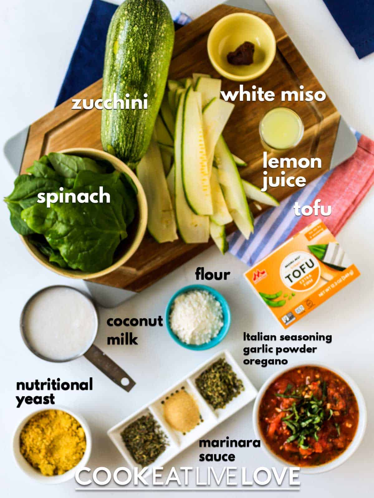 Ingredients to make zucchini lasagna on the table with text labels