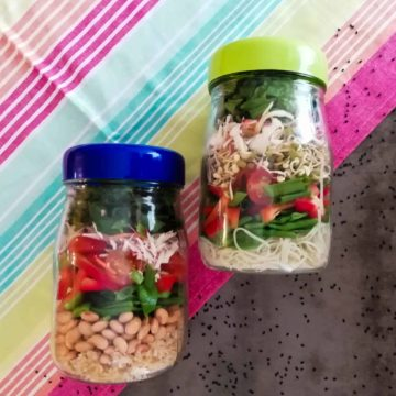 Meal prep made easy uses jars to easily transport salads