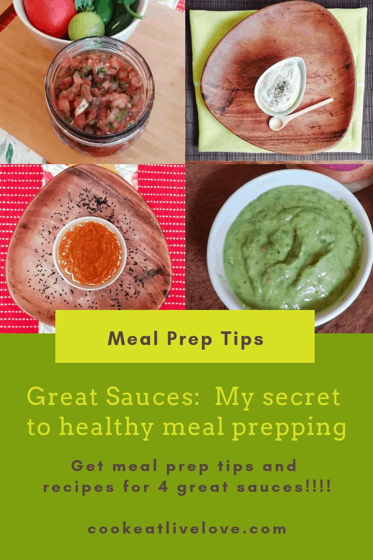 Pinterest pin featuring all four sauces