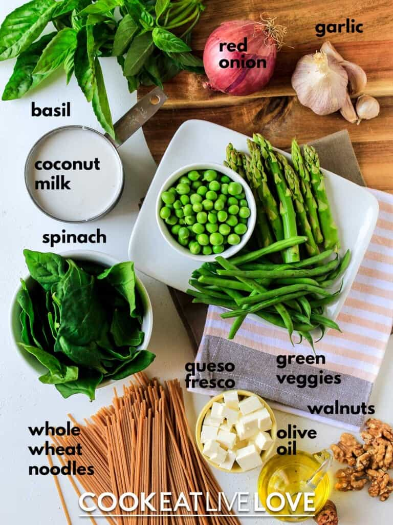 Ingredients to make tallarines verdes on table with text labels