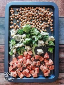 pan roasted veggies on a pan include chickpeas, sweet potatoes, broccoli and cauliflower
