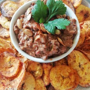 Closeup of dip and plantain chips