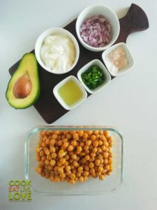 All the ingredients for Creamy Chickpea Salad