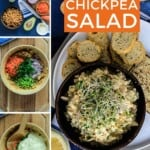 Pin for pinterest graphic with images of salad and making it