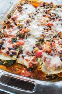 Rectangle glass casserole with Mexican Lasagna ready to serve