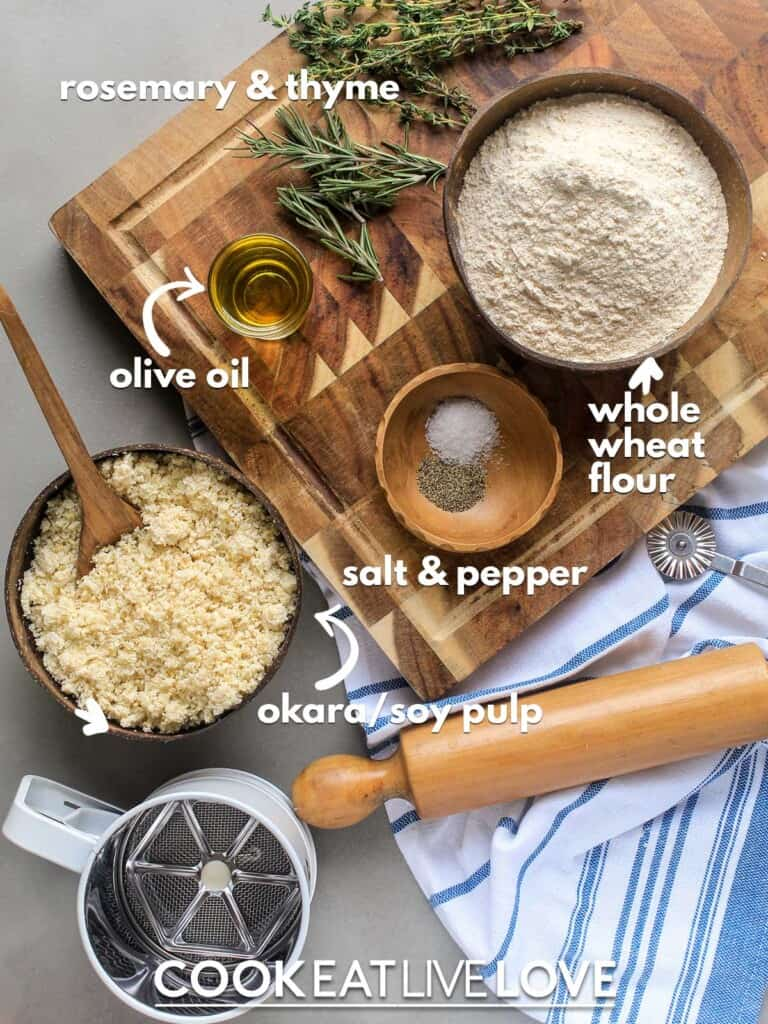 Ingredients to make okara recipe on the table.