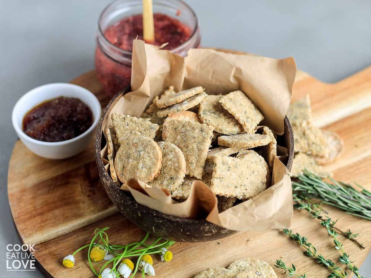 Vegan crackers in a bowl on the table
