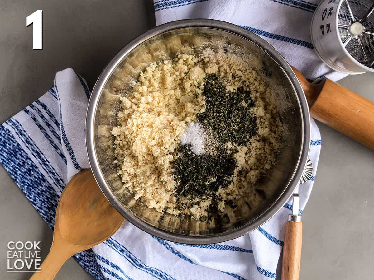 Ingredients to make okara recipe in a bowl ready to mix