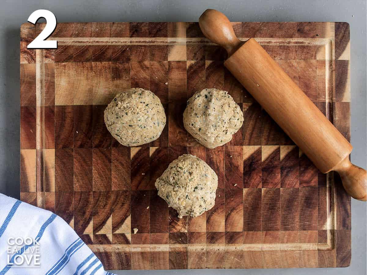 Okara cracker dough on a cutting board
