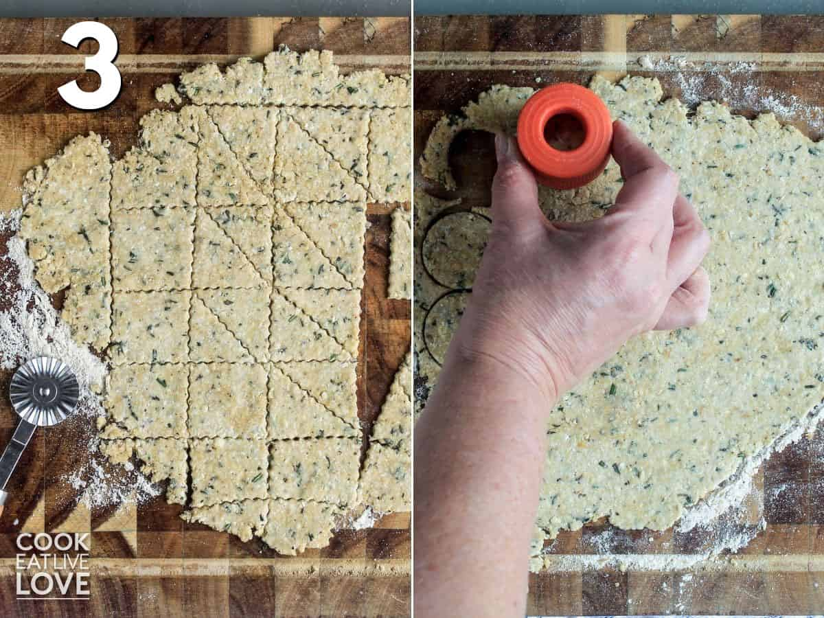 Cutting dough with pastry cutter or shaped cutter