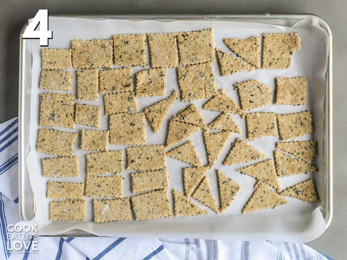 Okara crackers on a tray ready for the oven.