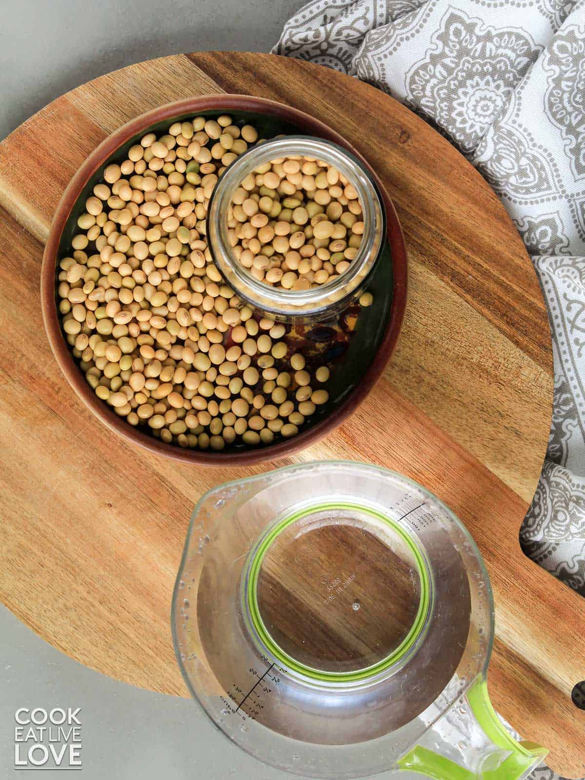 Dried soy beans and water to make soy milk at home