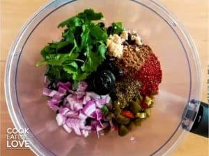 Overhead shot of all ingredients in food processor before blending.