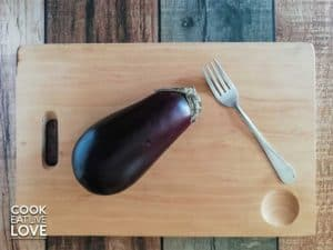 Eggplant on cutting board