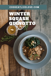 Pin of winter squash quinotto with full image and text set over photo.